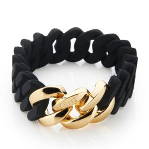 The Rubz Natural Silicone 15mm Unisex Bracelet Black & Gold
