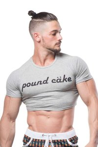 JJ Malibu Fun Cropped Fitness Slim Fit Crop Top Short Sleeved T Shirt Pound Cake JJTOP010