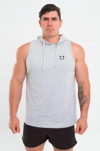 Twotags Muscle Sleeveless Hoodie Sweater Grey