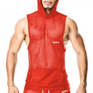 Gigo LIGHT RED Hoody Muscle Top T Shirt O27179