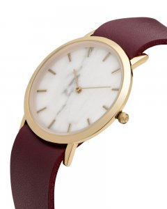 Analog Watch Classic White Marble Dial & Cherry Strap Watch ...