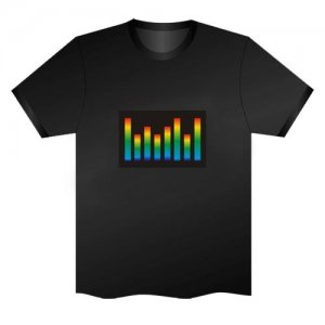 LED Electro Luminescence Music Equalizer Funny Gadgets Rave Party Disco Light T Shirt Black 32047