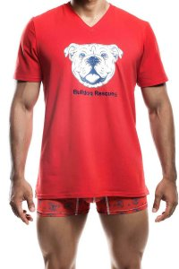MaleBasics Socal Bulldog V Neck Short Sleeved T Shirt Red SC04