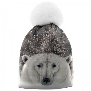 Mr. Gugu & Miss Go Bubble Bear Unisex Pom-Pom Beanie WB822