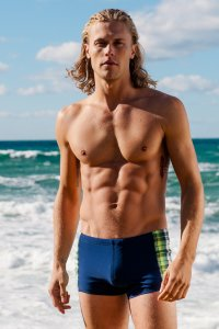 Sauvage Caribbean Plaid Square Cut Trunk Swimwear Navy/Lime