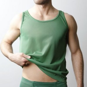 Players Nylon Tricot Tank Top T Shirt Forest Green