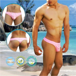 Icker Sea Lifeguard Tanga Thong Swimwear Pink COB-14-LTW01