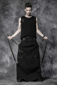 Punk Rave Gothic Long Skirt Black Q-222