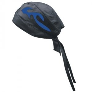 DBE Premium Solid Leather Flame Biker Skull Hat Black/Blue D...