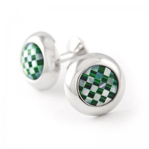 Ulterior Motive Jade Checkboard Cufflinks White/Green