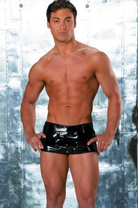 Allure Men's Underwear Vinyl Shorts Black 33-1017