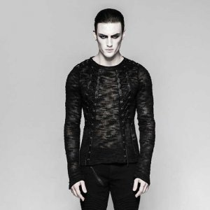 Punk Rave Spectral Mist Lace Up Mesh Knitted Sweater Black T...