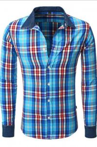 Carisma Checker 9505-1 CRSM 8175 Long Sleeved Shirt Navy Blu...