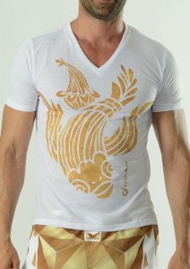 Geronimo Short Sleeved T Shirt White/Gold 1609T3-2