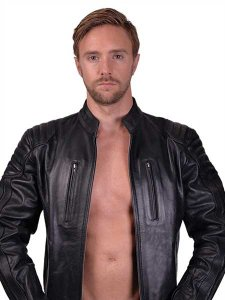 Mister B Leather Stripes Biker Jacket Black 140400