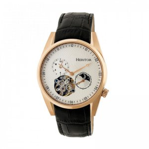 Heritor Automatic Alexander Semi-Skeleton Leather-Band Watch...