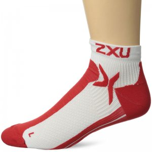 2XU Peformance Low Rise Socks White/Neon Red MQ1903E