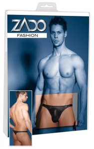 Zado Perforated Leather Thong Underwear Black 2010216