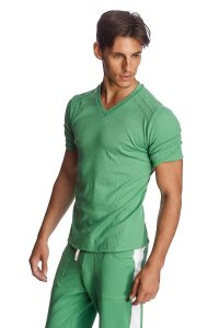 4-rth Hybrid V Neck Short Sleeved T Shirt Bamboo Green
