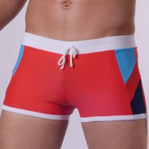 Don Moris Multicolor Side Accent Piping Square Cut Trunk Swimwear Red/Turquoise/Navy SW090909