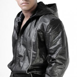 Whip It Leather Piping Hoodie Jacket JN3