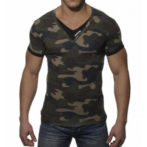 Addicted Double Effect V Neck Short Sleeved T Shirt Camouflage/Black AD121