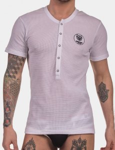 Barcode Berlin Dante Henley Short Sleeved T Shirt White/Blac...