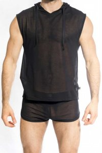 L'Homme Invisible Zephyr Hooded Muscle Top Sweater Black SP1...