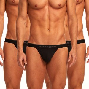 Papi [3 Pack] Cotton Stretch Thong Underwear Black 980902