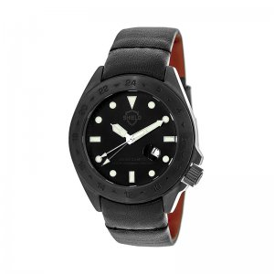 Shield Caruso Leather-Band Pro-Diver Swiss Watch w/Date - Bl...