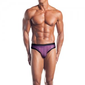 Excite Contrast Trim Mesh Thong Underwear Grape/Black EE10