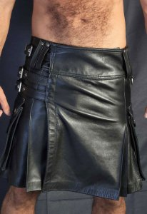 Kristen Bjorn Leather Kilt III Black