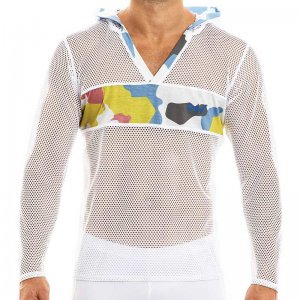 Modus Vivendi Camouflage Hoodie Long Sleeved Sweater White 0...