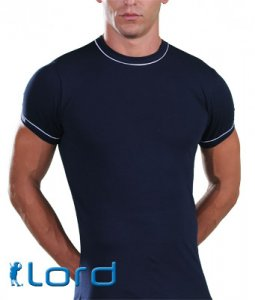 Lord Contrast Lines Short Sleeved T Shirt Blue 400