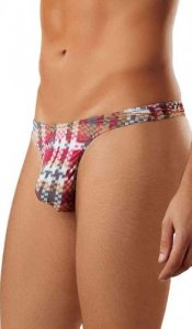Male Power Digital Plaid Bong Thong Underwear Red 442-181 USA1