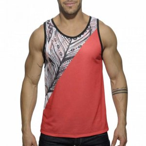 Addicted Feather Tank Top T Shirt Red AD378