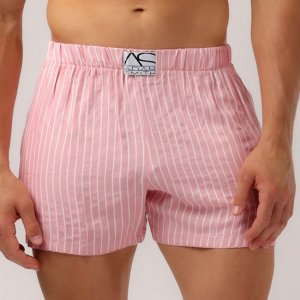 Adam Smith Relax Pocket Stripe Loose Boxer Shorts Underwear Pink AS-147