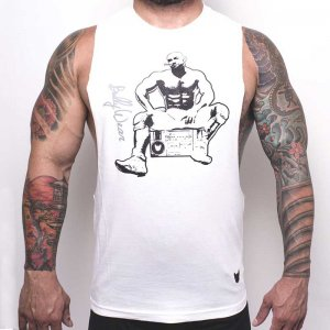 Bullywear Radio Man Muscle Top T Shirt White/Grey S-ST7HS