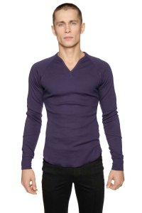 4-rth Thermal V Neck Long Sleeved T Shirt Eggplant