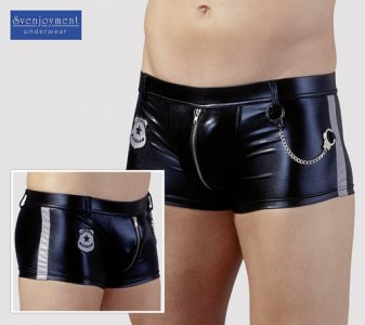 Svenjoyment Police Wetlook Zipper Boxer Brief Black 2131200