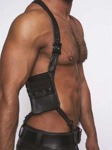 Mister B Leather Wallet Harness Black 601301