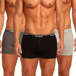 Papi [3 Pack] Premium Cotton Buttonfly Boxer Brief Underwear Grey 705602