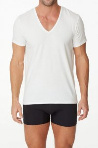 Parker & Max Classic Cotton Stretch Deep V Neck Short Sleeved T Shirt White PMFPCS-TDVN1