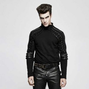 Punk Rave Predator Armor Lace Up High Neck Long Sleeved T Sh...