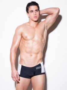 N2N Bodywear Edge Square Cut Trunk Swimwear Black PT7