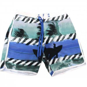 Lord Tropical Stripes Boardshorts Beachwear Teal MA002