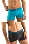Clearance [2 Pack] Ready Wear Double Front Pouch Trunk Underwear Aqua+Charcoal 4188