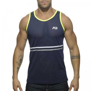 Addicted Platinum Detail Tank Top T Shirt Navy AD483