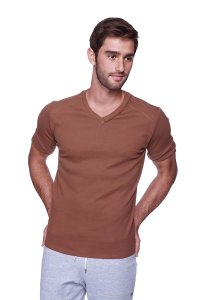4-rth Hybrid V Neck Short Sleeved T Shirt Chocolate
