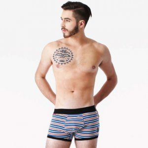 Rock N Fresh Johnny Striped Boxer Brief Underwear Navy